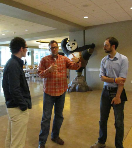 Tim Reckart (left) talks with supervising animator Rex Grignon (center) and host Victor Fuste (right).