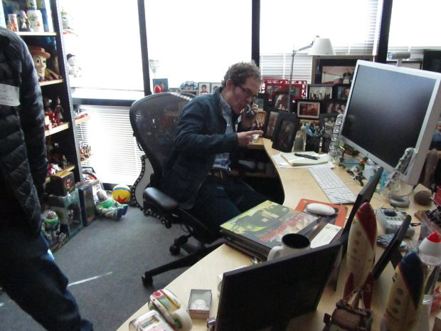 Tim channels his inner animation executive as he chew someone out at John Lasseter's desk.