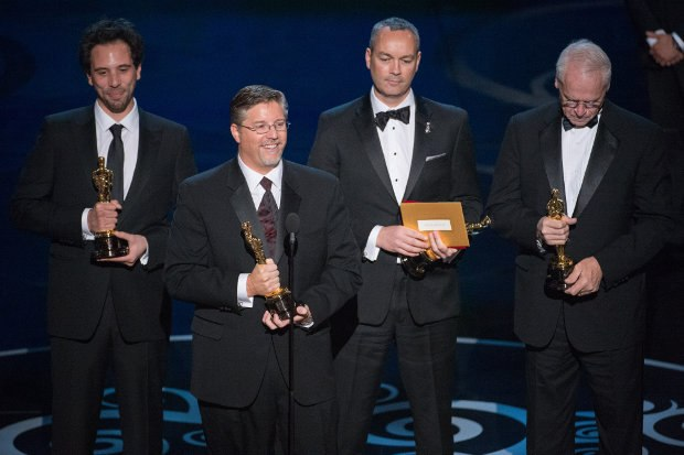 Guillaume Rocheron, Bill Westenhofer, Erik-Jan De Boer, and Donald R. Elliott accept the Oscar® for achievement in visual effects for Life of Pi. Image credit: Matt Brown / ©A.M.P.A.S.