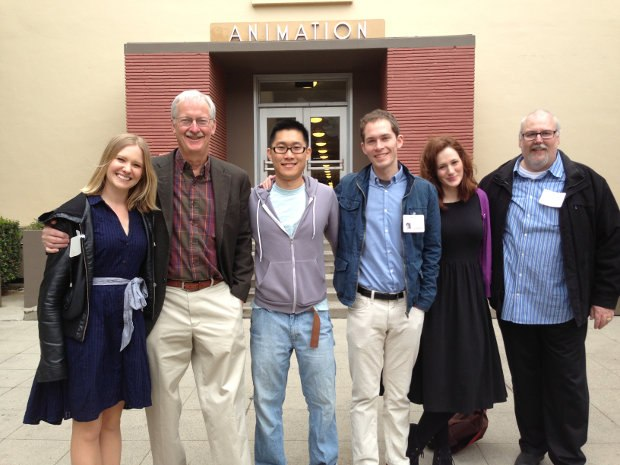 Outside the old Animation building. (From left to right) host Stephanie Morse, John Musker, Minkyu, Tim, Fondhla and me.