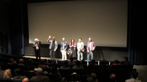 Ron Diamond (far left) introduces the filmmakers in attendance.