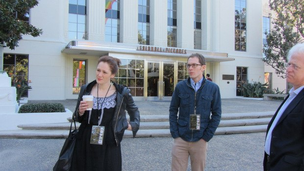 Fondhla, Tim and Ron stand in front of the Thalberg building as we begin our Sony lot tour.