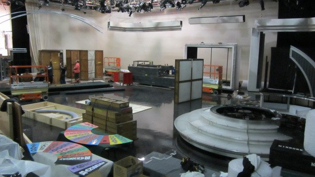 The set was being broken down for travel for remote show broadcasts.