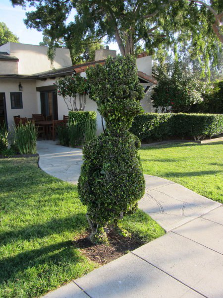 The Bart Simpson topiary stands proudly in front of The Simpsons production offices.