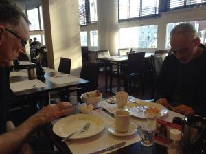 Dennis Tupicoff and Steven Subotnick enjoy Words with Friends at HAFF 13.