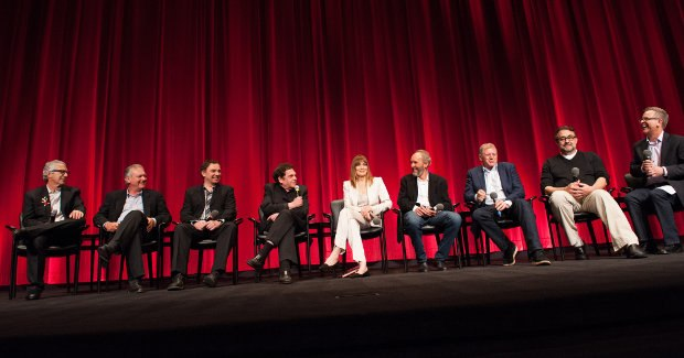 The entire panel (from left to right): Screenwriter Jeffrey Price, Screenwriter Peter S. Seaman, Supervising Animator Andreas Deja, Voice Actor Charles Fleischer, Actress Joanna Cassidy, Associate Producer Steve Starkey, Oscar® winning Director Robert Zemeckis, Associate Producer Don Hahn and Moderator Rich Moore. Image credit: Greg Harbaugh / ©A.M.P.A.S.