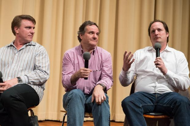 Visual effects supervisor Rob Legato flanked by Production designer Robert Stromberg (left) and host Craig Barron (right). © AMPAS