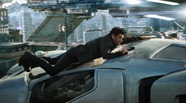 Car chase sequence from Total Recall. Image © 2012 Columbia Pictures Industries, Inc. All rights reserved.