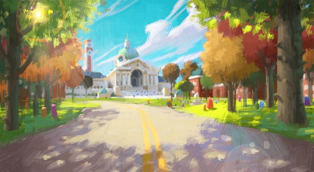 Monsters University Scare School color exploration, Dice Tsutsumi, digital. 2010.