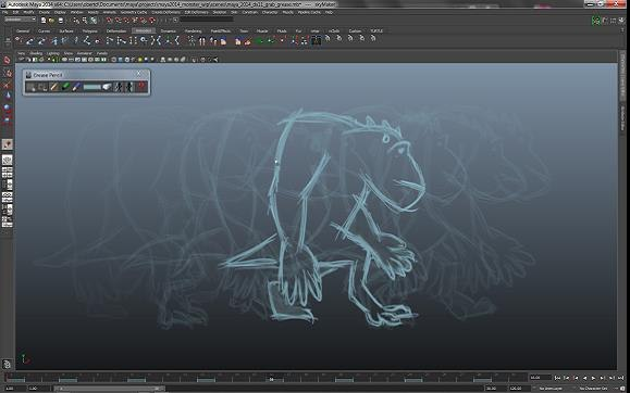 Maya 2014 Grease Pencil Tool.