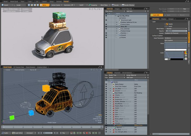 The render preview is a popular feature of MODO and allows close to realtime feedback when building shader trees.