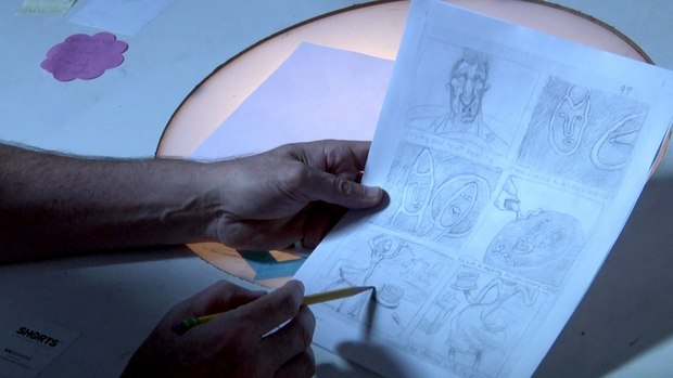 Bill working on a storyboard. Click the image for a high res version.