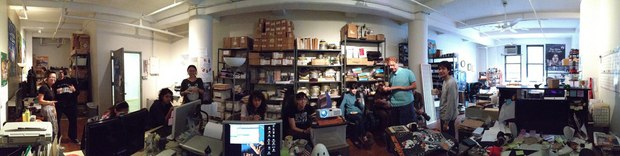 A panorama of the production crew. Click the image for a high res version.