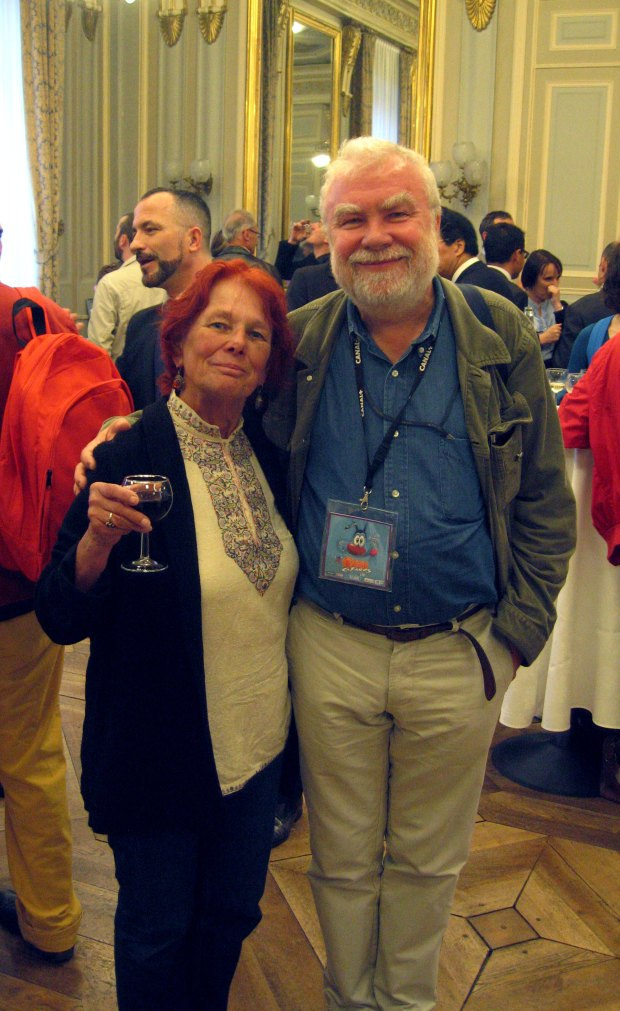 Nancy and Marcin Gizycki at the Monday evening reception at the Hôtel de Ville.