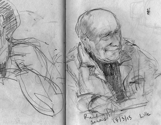 Sketch of Raoul Servais in Joanna Quinn's notebook.