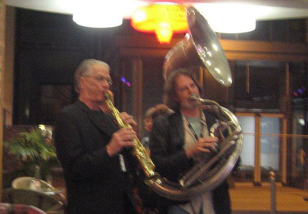 Nik and David Silverman serenading at the festival cafe.
