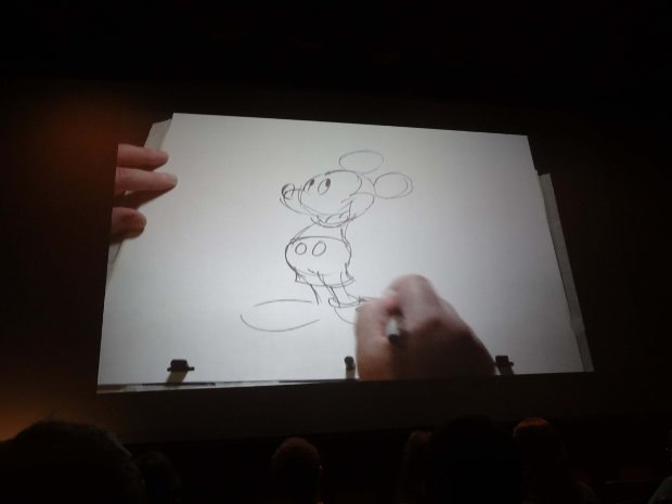 Eric demonstrated time travel by first recreating the Freddie Moore version of Mickey...