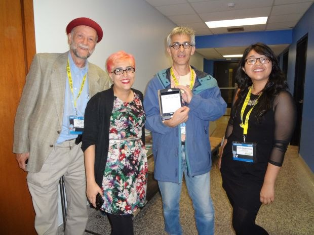 Here Mark Farren, Lucila Maccagno, Gary Schwatrz, and Karla Monterrosa (whose Unfortunately was in the Canadian Student Competition) keep the networking going into the final hours of the festival. Those are Karla's storyboards on that ipad Gary's holding.