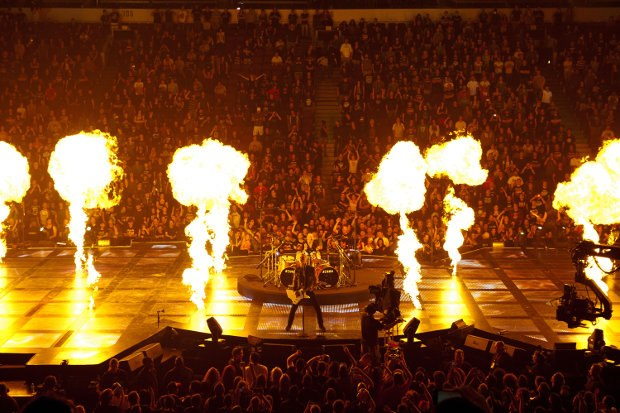 Pyrotechnics about through the concert footage.