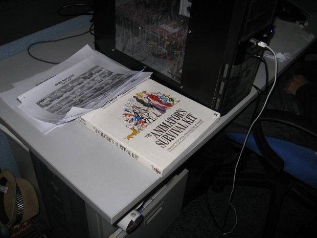 On a 2010 visit by the author to Southern Star Studios in Singapore, during the studio tour, he found several desks with well worn copies of Richard's Animator's Survival Kit close at hand. Image courtesy of Dan Sarto.