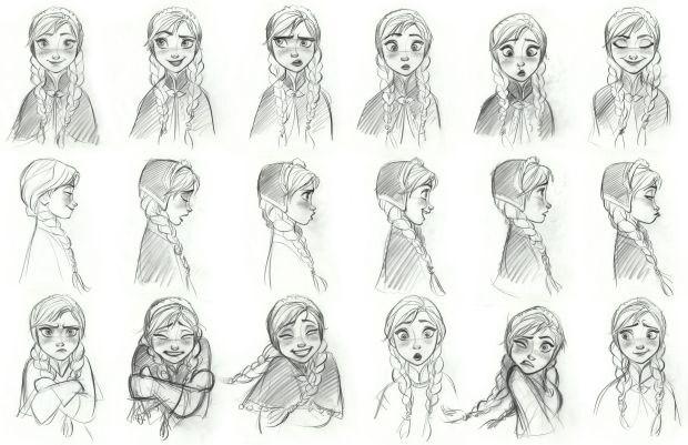 Anna facial model sheet.