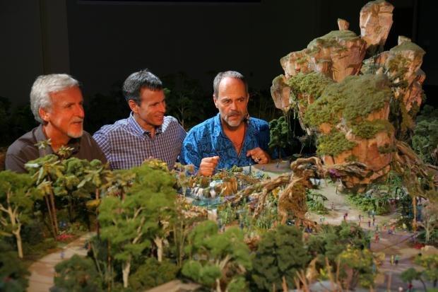 James Cameron, Walt Disney Parks & Resorts Chairman Tom Staggs and Imagineer Joe Rohde View a Model of the AVATAR-Themed Land Coming to Disney's Animal Kingdom at Walt Disney World Resort.