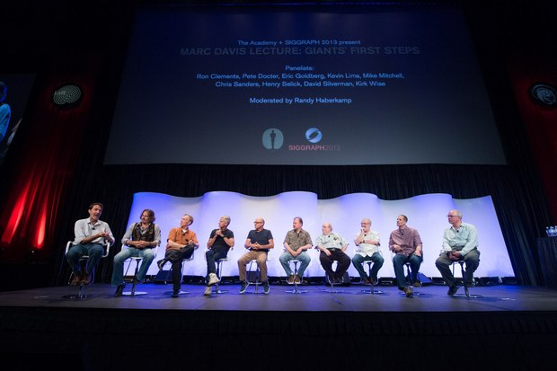 "The Academy presented ""Marc Davis Lecture: Giants' First Steps,"" at SIGGRAPH on July 22, 2013. Pictured (left to right): Kirk Wise, David Silverman, Henry Selick, Chris Sanders, Mike Mitchell, Kevin Lima, Eric Goldberg, Ron Clements, Pete Docter and Randy Haberkamp.  Photo credit: Richard Harbaugh / © A.M.P.A.S."