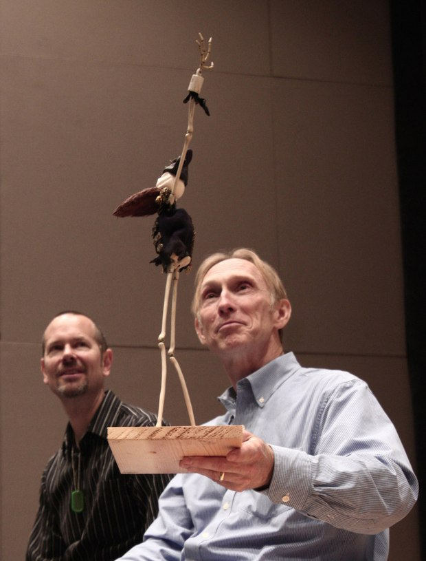 "Selick and animator Anthony Scott show the festival crowd the puppet of Jack Skellington that cameoed in James in the Giant Peach.  Or, as Selick calls him, ""Jack in his Halloween costume"".  Photo by Tristan Corbeil Lapointe."