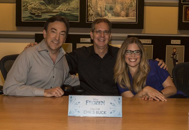 From left to right: Producer Peter Del Vechio and Directors Chris Buck and Jennifer Lee.