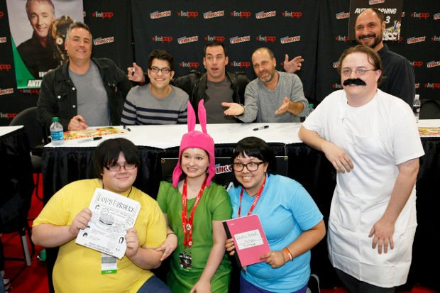 Bouchard and the cast of Bob's Burgers pose with cosplayers at NYCC 2013.