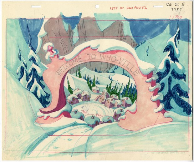 A rough layout from The Grinch with color indications for background painter Phil DeGuard.