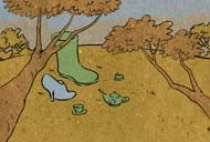 A green boot invites the blue shoe to tea. © FableVision.