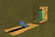 The green boot turns out to be the unlikely match for the blue shoe. © FableVision.