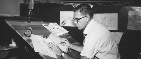Larz Bourne, dependable traditional gag creator/storyman, 1957.  Photo from J.J. Sedelmaier Production's collection.