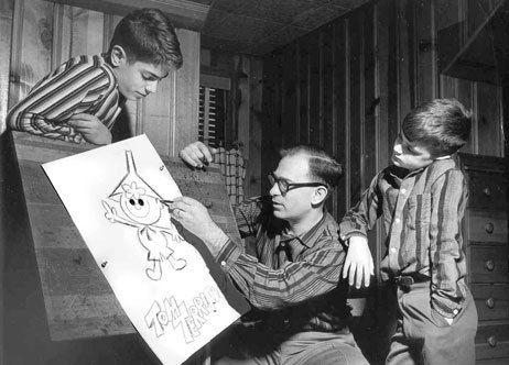 Drawing Tom Terrific for sons Kim and Simon. CBS publicity photo 1957.