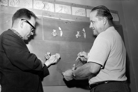 Gene Deitch and Connie Rasinski examining production cels for the Bert & Harry Piels Beer commercials at Terrytoons, 1957. Photo from J.J. Sedlmaier Productions' collection.