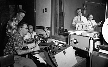 Gene Deitch and Tommy Morrison recording Tom Terrific with Lionel Wilson.