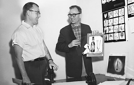 """Frank """"Sparky"""" Schudde, the amiable and capable Terrytoons production manager, with Creative Director Gene Deitch, 1957. Photo from J.J. Sedelmaier Productions' collection."""