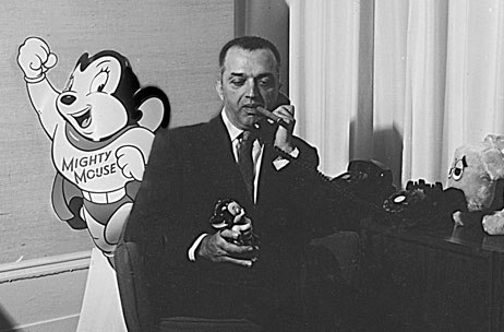The unloved Bill Weiss in his Terrytoons office, 1957. Photo from J.J. Sedelmaier Productions' collection.