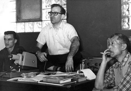 Vinnie Bell, Gene Deitch and Bob Kuwahara at Terrytoons, 1957. CBS publicity photo.