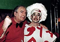 Among the mixed crowd at Brussels '98 were Georges le Gloupier, who made headlines for throwing a pie in Bill Gates' face just a week prior to the festival, and Belgian humorist Bruno Coppens on the right. Photo courtesy of Folioscope