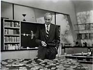 Heinz Haber, narrator of Our Friend the Atom, with the mousetraps that illustrate nuclear fission. Photo courtesy of Mark Langer.