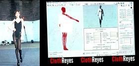 Un mannequin portant l'équipement capteur de mouvements, restitués avec le logiciel d'animation 3D Kinetix pour le défilé de mode Thierry Mugler. Image © Thierry Mugler/Kinetix, crédit IMAGINA.