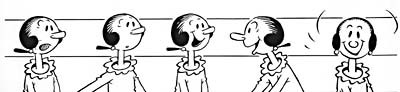 Questel styled the voice of Olive Oyl, the whiny girlfriend of Popeye, after Zasu Pitts. © King Features Syndicate/Fleischer Studios.