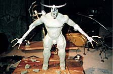 This minotaur puppet armature was covered with plastic wrap before the clay figure was sculpted on top. Later it will be cast in a mold. Photo courtesy of and © Tom Brierton.