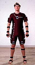 Motion capture suits like this are used to track an actor's motion, which can then be applied to a digital character.