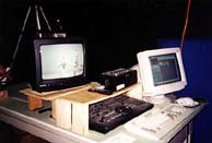 The Neverhood's digital animation set-up includes a digital camera, a capture board, an Animation Toolworks Video Lunchbox, a digital video mixer, a monitor and a multi-gigabyte computer to store images.