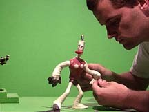 Mike Dietz of the Neverhood, animating puppets for the game Skullmonkeys. © The Neverhood.