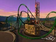 Riddler's Revenge is a roller coaster developed by Liquid Light Studios for Six Flags Theme Parks. Image courtesy of Liquid Light.