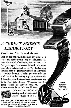 An early ad promoting the use of film projectors in schools.